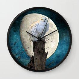 White Snowy Owl Bird Moon Blue A141 Wall Clock