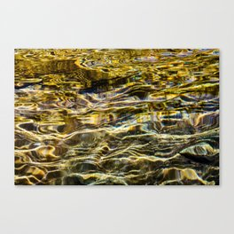 Prismatic Waves in Gold and Green Canvas Print