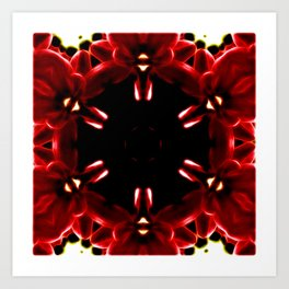 Red Christmas Cactus In Abstract Art Print