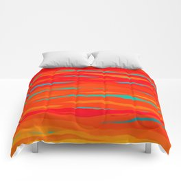 Ripped Turquoise Sunset Sky Comforters