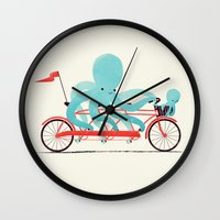 bike Wall Clocks featuring My Red Bike by Jay Fleck