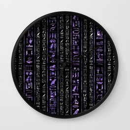 Amethyst and Silver Egyptian hieroglyphics pattern Wall Clock