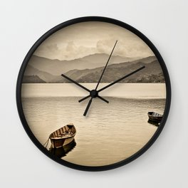 Lone boats on Phewa Lake, Pokhara, Nepal Wall Clock