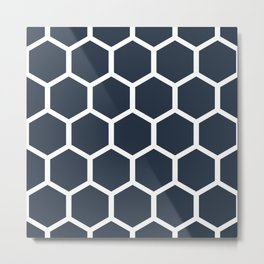 Dark blueHoneycomb pattern Metal Print