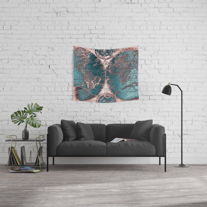 Antique World Map Pink Quartz Teal Blue by Nature Magick Wall Tapestry