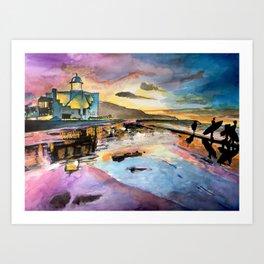 Sunset landscape & surfers Blue Pink Orange Yellow Art Print