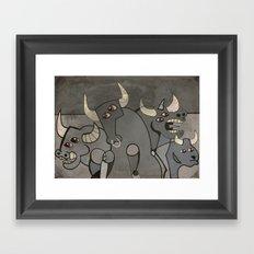 Four Bulls Framed Art Print