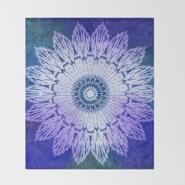 tie dye sunflower mandala in blues Throw Blanket