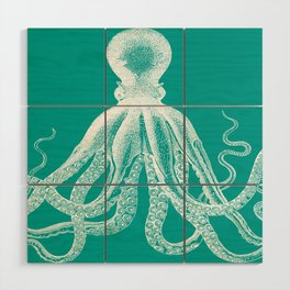 Octopus | Teal and White Wood Wall Art
