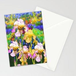 BLUE YELLOW IRIS GARDEN REFLECTION Stationery Cards