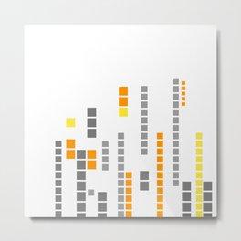 Pixel pattern geometric orange gray Metal Print