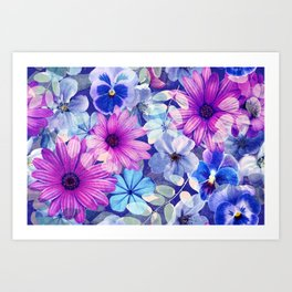 Dark pink and blue floral pattern Art Print