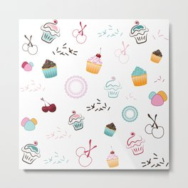 Cupcake Pastry Background - Colored 07 Metal Print