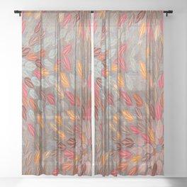 Terra Cotta on Bronze Leaves Sheer Curtain
