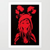 red riding hood Art Prints featuring Miss Red riding hood  by Sammycrafts