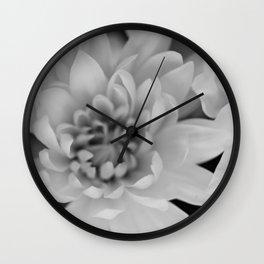 Chrysanthemum Flower in black and white Wall Clock
