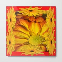 MODERN RED GOLDEN YELLOW SUNFLOWERS ART Metal Print