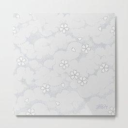 Kumori Nochi Sakura: Gray Metal Print