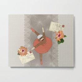 Sock Monkey Ballerina on Tour Metal Print