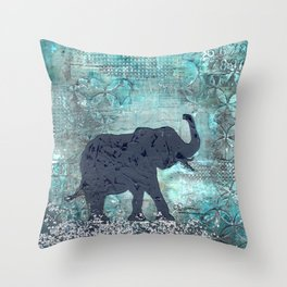 Majestic Series: Turquoise and silver Throw Pillow