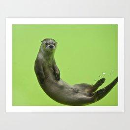 Green Otter Art Print