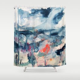 Before the Storm - an abstract acrylic and ink piece in blues, white, pink, and red Shower Curtain