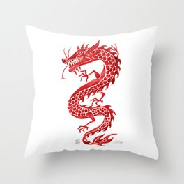 Chinese Dragon – Crimson Palette Throw Pillow