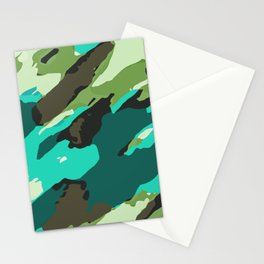 green blue and brown painting abstract background Stationery Cards