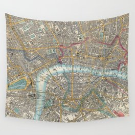 Vintage Map of London (1848) Wall Tapestry