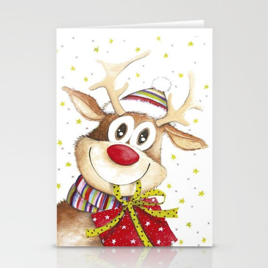 Funny Christmas Deer Red Nose Stars by themorganway