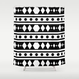 White tribal pattern Shower Curtain