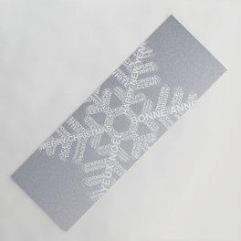 Typographic Snowflake Greetings - Silver Grey Yoga Mat