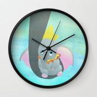 dumbo Wall Clocks featuring dumbo and his mom by studiomarshallarts