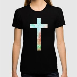 Christian Cross - Watercolor Geometric Pattern T-shirt