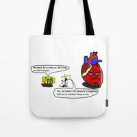 atheist Tote Bags featuring Latin Savior by Sleepyjoey