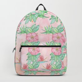 Tropical flowers and leaves watercolor Backpack