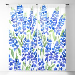 Watercolor Texas bluebells Blackout Curtain