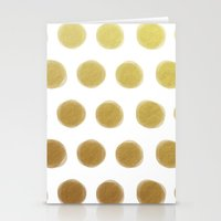 gold dots Stationery Cards featuring painted polka dots - gold by her art
