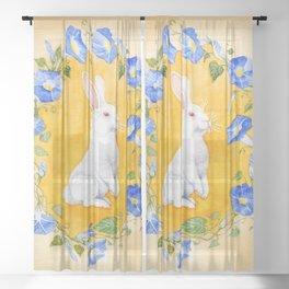 White Rabbit in Blue Flowers Sheer Curtain