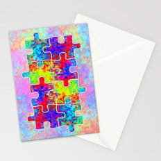 Autism Colorful Puzzle Pieces Stationery Cards