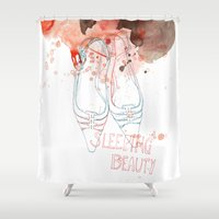 shoes Shower Curtains featuring shoes by Sabine Israel