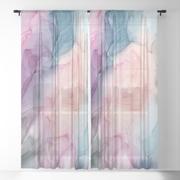 Dark and Pastel Ethereal- Original Fluid Art Painting Sheer Curtain