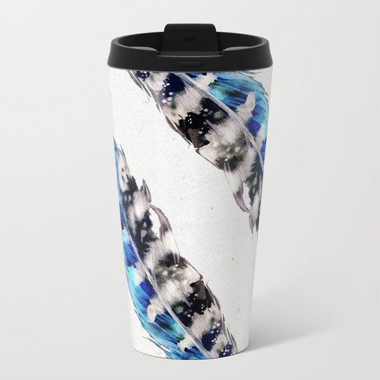 Two  blue feathers Metal Travel Mug