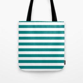 Narrow Horizontal Stripes - White and Dark Cyan Tote Bag