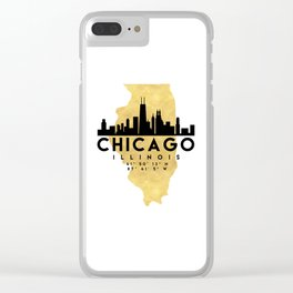 CHICAGO ILLINOIS SILHOUETTE SKYLINE MAP ART Clear iPhone Case