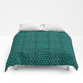 Mermaid Glam // Turquoise Glitter Watercolor Scales on Charcoal Chalkboard Comforters