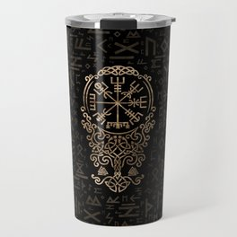 Vegvisir - Viking Compass on Futhark pattern Travel Mug