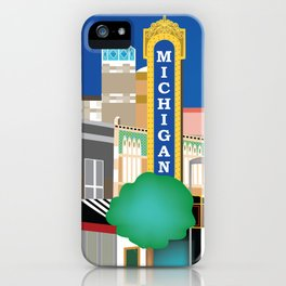 Ann Arbor, Michigan - Skyline Illustration by Loose Petals iPhone Case