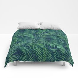 Night tropical palm leaves Comforters