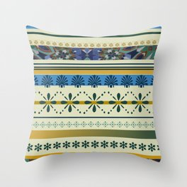 Stipes ornaments designs blue yellow Throw Pillow
